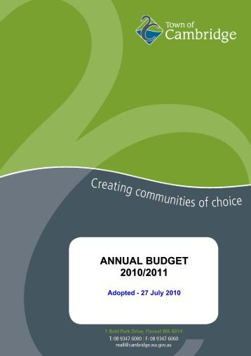 ANNUAL BUDGET 2010/2011 - Town of Cambridge