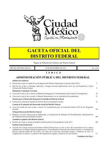 Ley de Ingresos del Distrito Federal para el Ejercicio Fiscal 2012 ...