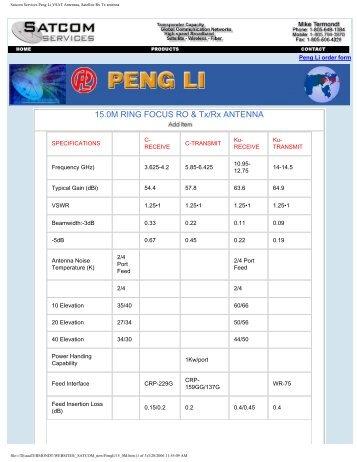 Satcom Services Peng Li VSAT Antennas, Satellite Rx Tx antenna