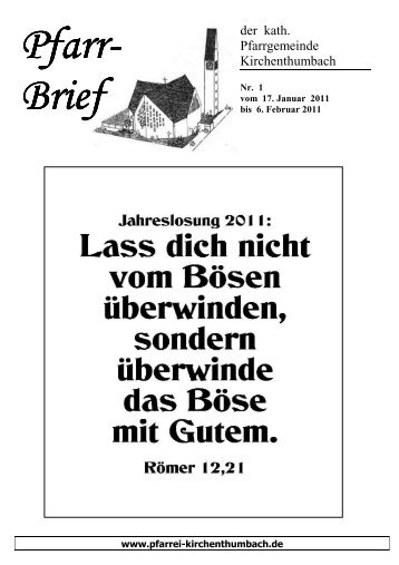 Pfarrbrief Nr. 01 - Pfarrei Kirchenthumbach
