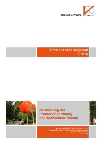 Neufassung der Promotionsordnung der ... - Universität Vechta