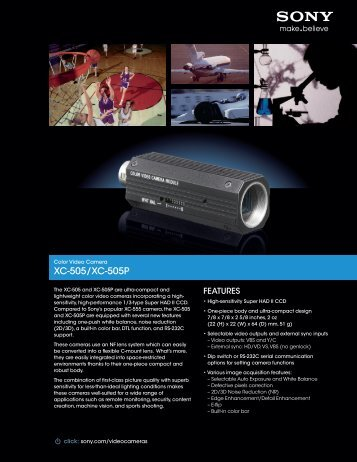 download sony xc505 brochure - Go Electronic
