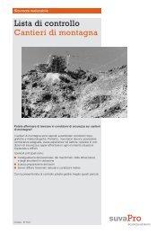 Lista di controllo Cantieri di montagna - Frareg
