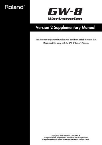 Version 2 Supplementary Manual - Roland