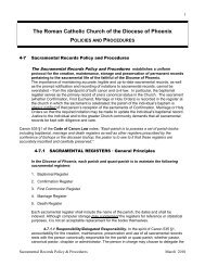 The Roman Catholic Church of the Diocese of Phoenix POLICIES ...