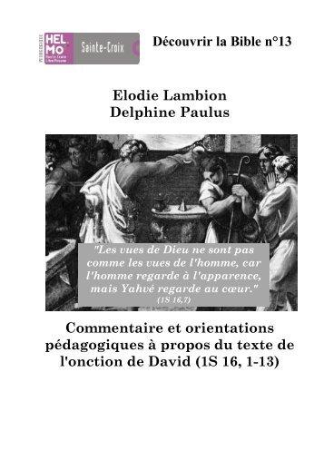Découvrir la Bible n°13 Elodie Lambion Delphine ... - Enseignons.be