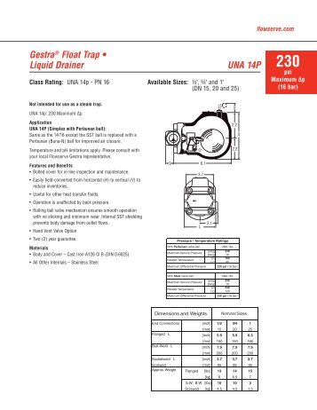 Gestra® Float Trap • Liquid Drainer UNA 14P