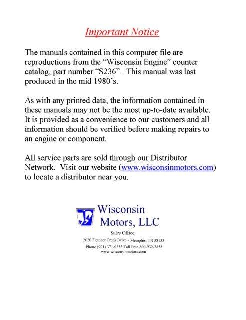 Wisconsin Thd Engine Parts