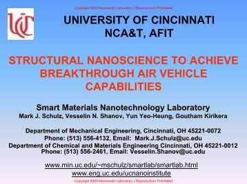 Structural Nanoscience at UC - Mechanical Engineering - University ...