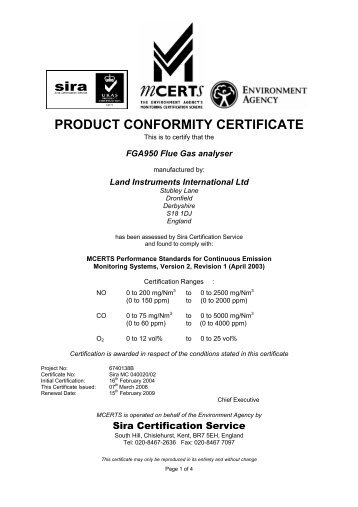 PRODUCT CONFORMITY CERTIFICATE - Sira Environmental