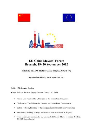 EU-China Mayors' Forum Brussels, 19- 20 September 2012 - EU-China ...