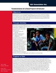 Fortalecimiento de la Salud Project in El Salvador - Abt Associates