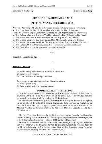 seance du 06 décembre 2012 zitting van 06 december ... - Koekelberg