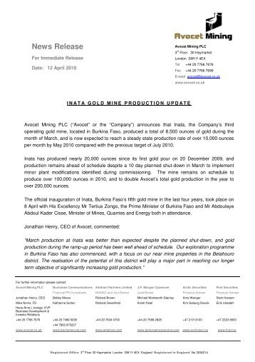 Inata Gold Mine production Update - Avocet Mining PLC
