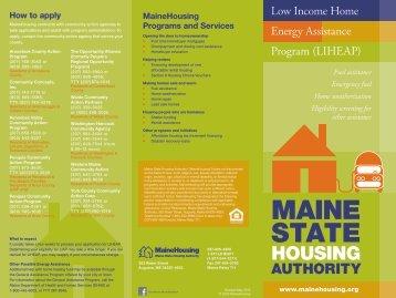 LIHEAP & Weatherization Brochure - Maine State Housing Authority