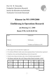 Klausur im WS 1999/2000 Einführung in Operations Research