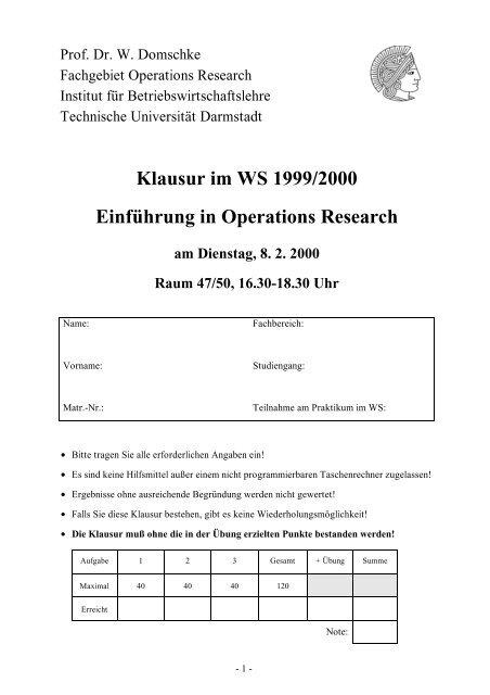 Klausur im WS 1999/2000 Einführung in Operations Research
