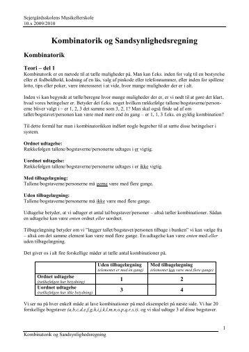 Kombinatorik og sandsynlighedsregning - Iundervisning