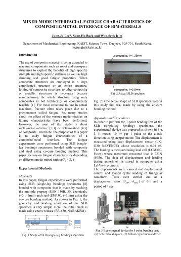 mixed-mode interfacial fatigue characteristics of composite/metal ...