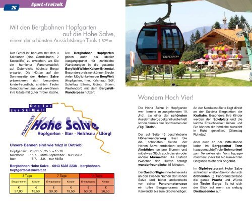 Mit den Bergbahnen Hopfgarten auf die Hohe Salve, Wandern Hoch ...