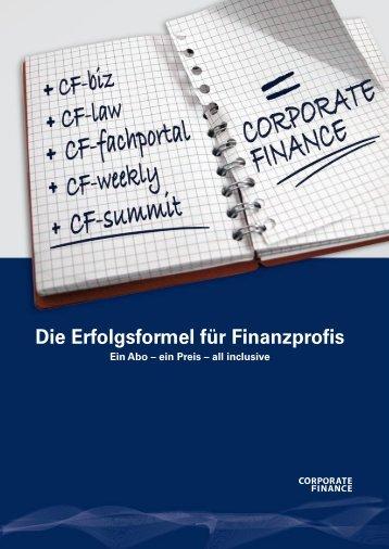 Die Erfolgsformel für Finanzprofis - CORPORATE FINANCE fachportal