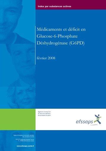 Médicaments et déficit en Glucose-6-Phosphate Déshydrogénase ...