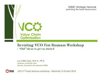Outcomes of the 1st Forest Biomass Workshop - VCO