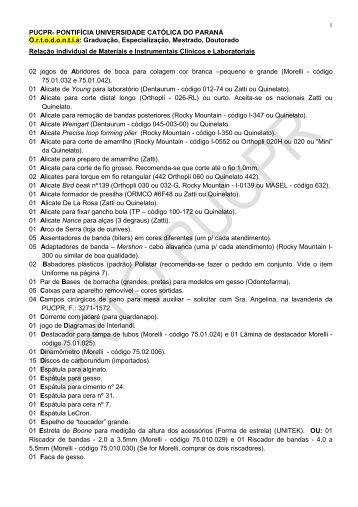 40. Lista de materiais Mestrado - Orthodontics.com.br
