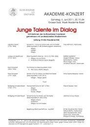 Junge Talente im Dialog - Musik-Akademie Basel