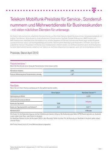 Telekom Mobilfunk-Preisliste für Service-, Sonderruf- nummern und ...