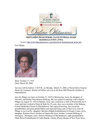 Inez Phipps Born - GenealogyBuff.com