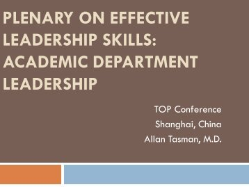 Plenary on Effective Leadership Skills: Academic Department ...