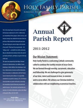 Annual Parish Report - Holy Family Parish