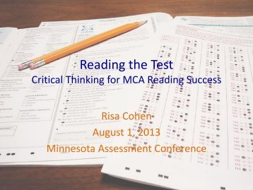 Reading the Test - Minnesota Assessments portal