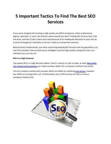 5 Important Tactics To Find The Best SEO Services
