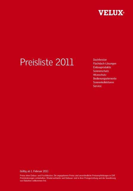 Preisliste 2011 Tschopp Ag Basel