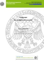 Profilgruppe Special Aspects of Economics - VWL - Universität zu Köln