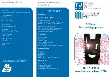 4. Wiener Biomaterialsymposium - Technische Universität Wien