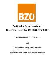 Politische Reformen jetzt – Oberösterreich hat GENUG GEZAHLT