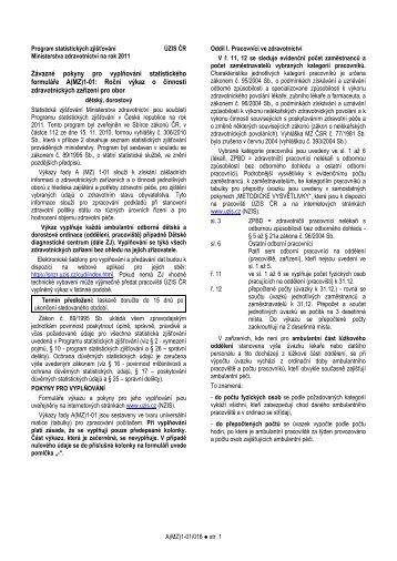 Závazné pokyny pro vyplňování statistického formuláře A ... - ÚZIS ČR