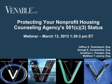 Protecting Your Nonprofit Housing Counseling ... - Venable LLP