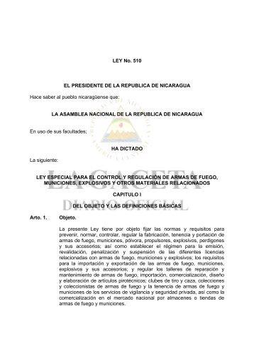 LEY No. 510 EL PRESIDENTE DE LA ... - Naciones Unidas