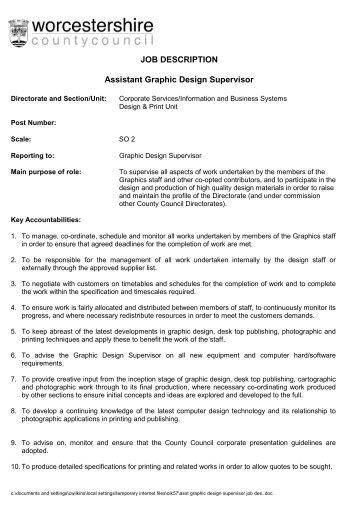 Job Description Istant Graphic Design Supervisor