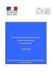 contrat d'objectifs et de moyens 2011-2015 relatif au ... - FIORE-Corse