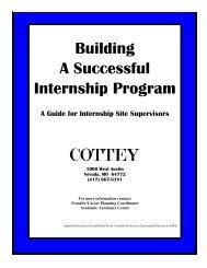 Internship Site Supervisor Guide - Cottey College