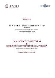 management sanitario e direzione di strutture complesse