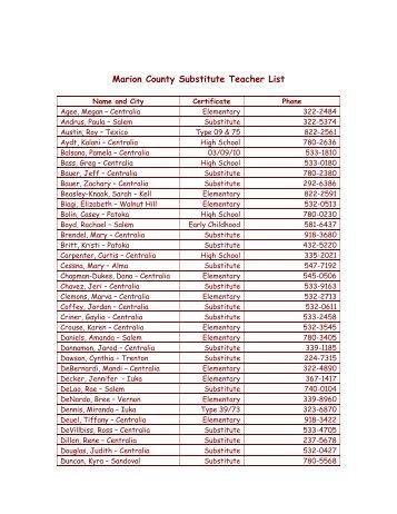 Marion County Substitute Teacher List - ROE #13