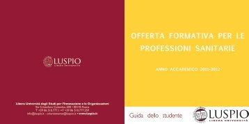 offerta formativa per le professioni sanitarie - degli studi per l ...