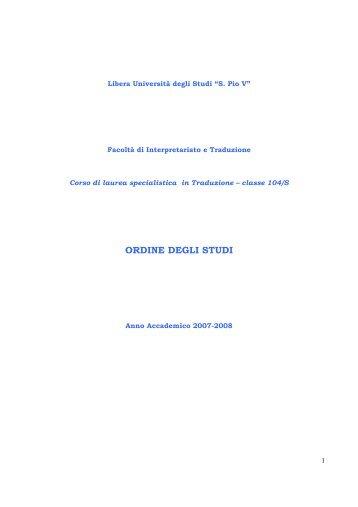 ordine degli studi - degli studi per l'innovazione e le organizzazioni ...