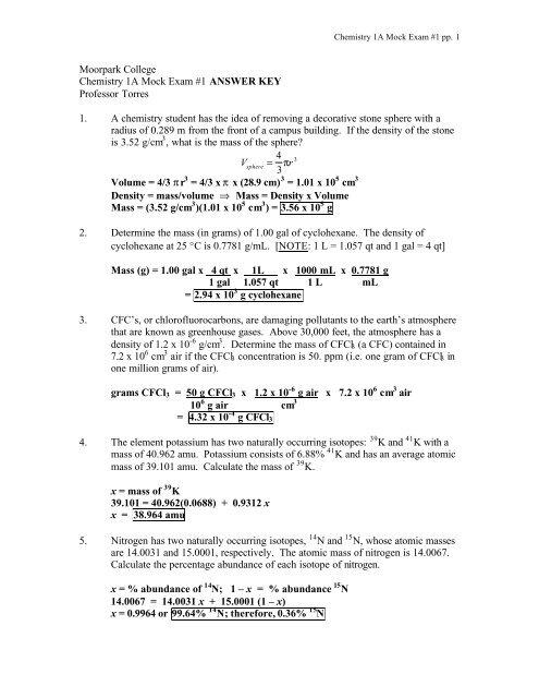 Moorpark College Chemistry 1a Mock Exam 1 Answer Key